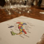 ワインリストの裏にはイタリア全土の地図。